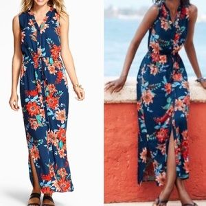 Talbots navy floral maxi dress with buttons sz 22W